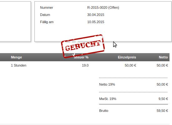 Screenshot: Dokumente und Zahlungen werden jetzt verbucht